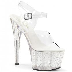 High Platforms Sandals Pleaser ADORE-708MG Clear Glitter