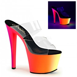 Mules Plateformes Hautes Pleaser RAINBOW-302UV Transparent Rainbow