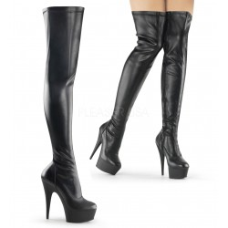 Platforms Thigh High Boots Pleaser DELIGHT-3000 Black matte