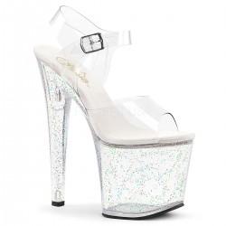 High Platforms Sandals Pleaser TABOO-708MG Clear Glitter