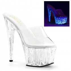 High Platforms Heels Mules Pleaser ADORE-701UV Blue Fluo