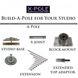 X Pole Pro 2 Pieces: Inox 45mm - 3.81m - Plafond plat