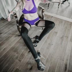 Socks Dominique Hold Up Fishnet Sway Polewear