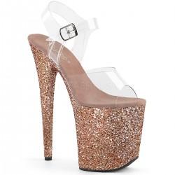 High Platforms Sandals Pleaser FLAMINGO-808LG Pink Gold