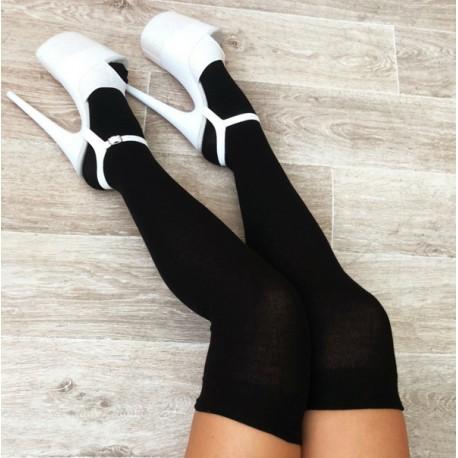 Black Thigh High Socks Luna Polewear