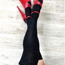 Black Sparkle Thigh High Socks Luna Polewear