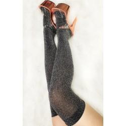 Silver Lurex Thigh High Socks Luna Polewear