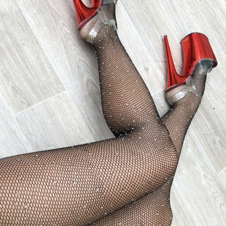 Black Fishnet Pantyhose with Rhinestones Luna Polewear