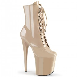 High Platforms Ankle Boots Pleaser FLAMINGO-1020 Nude patent