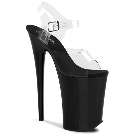 High Platforms Sandals Pleaser INFINITY-908 Clear/Black