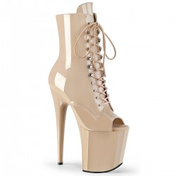 High Platforms Ankle Boots Pleaser FLAMINGO-1021 Nude patent