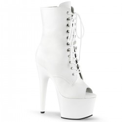 High Platforms Ankle Boots Pleaser ADORE-1021 White patent