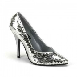Escarpins Talons Hauts Pleaser SEDUCE-420SQ Argent Sequins