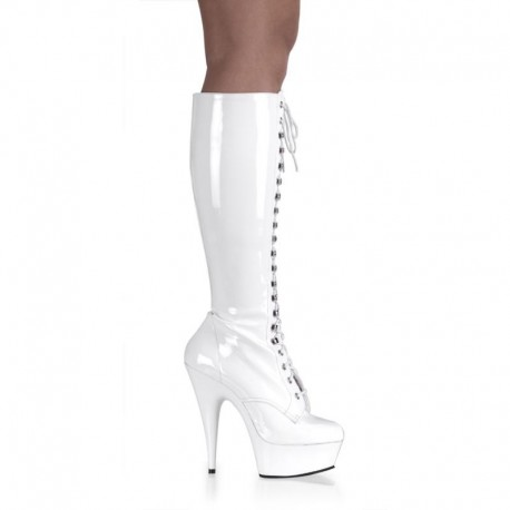 Platforms Knee Boots Pleaser DELIGHT-2023 White Patent