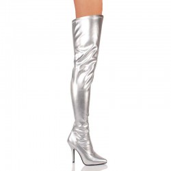 High Heels Thigh High Boots Pleaser SEDUCE-3000 Silver
