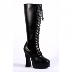 Platforms Knee Boots Pleaser ELECTRA-2020 Black matte