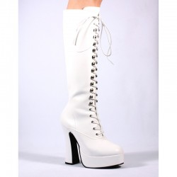 Platforms Knee Boots Pleaser ELECTRA-2020 White patent