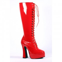 Platforms Knee Boots Pleaser ELECTRA-2020 Red patent