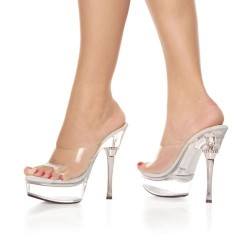 Platforms Heels Mules Pleaser ALLURE-601 Clear