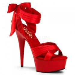 Platforms Sandals Pleaser DELIGHT-668 Red Satin