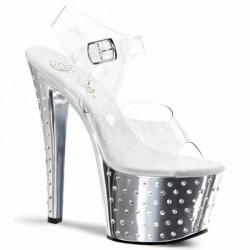 High Platforms Sandals Pleaser STARDUST-708C Silver