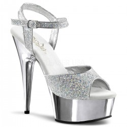 Sandales Plateformes Pleaser DELIGHT-609G Argent Paillete et Chrome