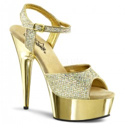 Sandalias Plataformas Pleaser DELIGHT-609G Or Paillete et Chrome