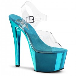 High Platforms Sandals Pleaser SKY-308C Blue Chrome