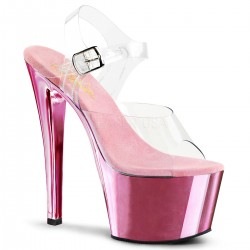 High Platforms Sandals Pleaser SKY-308C Pink Chrome