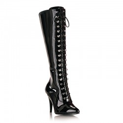 High Heels Knee Boots Pleaser VANITY-2020 Black patent