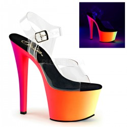 Sandales Plateformes Hautes Pleaser RAINBOW-308UV Transparent Rainbow