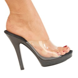 High Heels Heels Mules Fabulicious LIP-101 Clear/Black