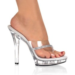 High Heels Heels Mules Fabulicious LIP-101R Clear and Strass