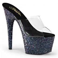 High Platforms Heels Mules Pleaser ADORE-701LG Clear/Black and Strass
