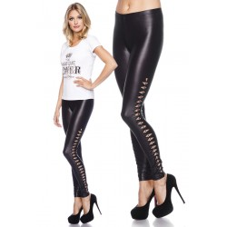 Legging wetlook ajouré, ornements en argent