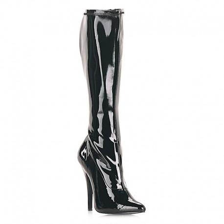 High Heels Knee Boots Pleaser DOMINA-2000 Black patent