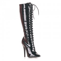 High Heels Knee Boots Pleaser DOMINA-2020 Black patent