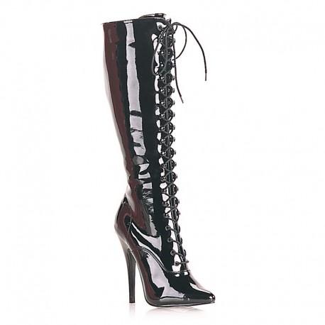 High Heels Knee Boots Pleaser DOMINA-2020 Black patent