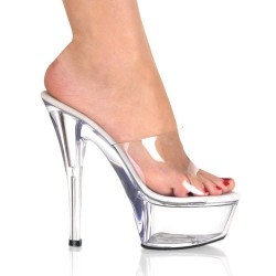 Platforms Heels Mules Pleaser KISS-201 Clear