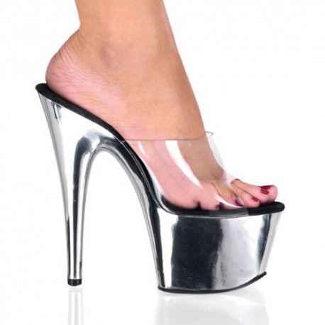 High Platforms Heels Mules Pleaser ADORE-701C Silver Chrome