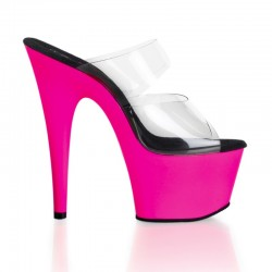 High Platforms Heels Mules Pleaser ADORE-702UV Clear Pink Fluo