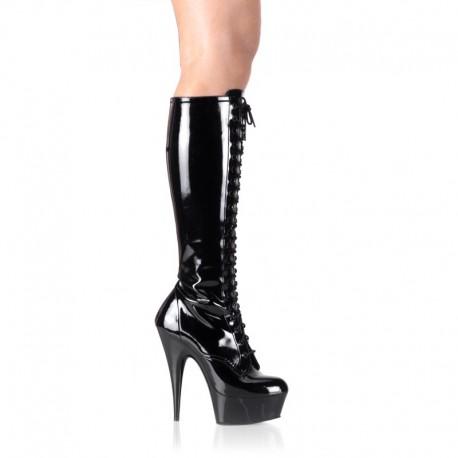 Platforms Knee Boots Pleaser DELIGHT-2023 Black patent