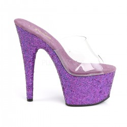 High Platforms Heels Mules Pleaser ADORE-701LG Clear/Purple and Strass
