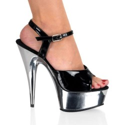 Platforms Sandals Pleaser DELIGHT-609C Black Chrome